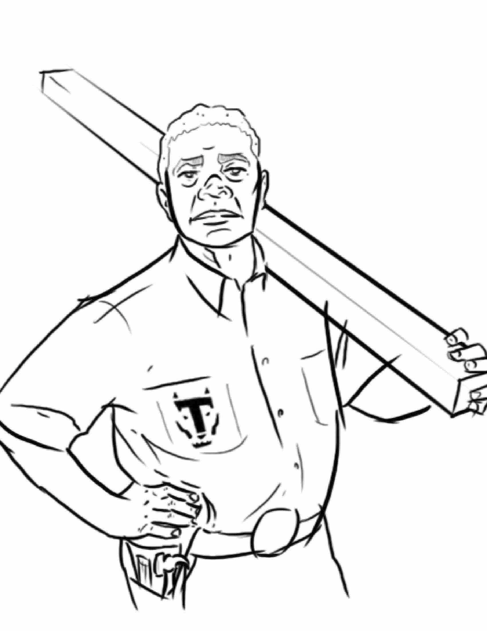 Cartoon Illustration of a man carrying a plank on his shoulder