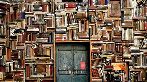 Image of wall filled with books