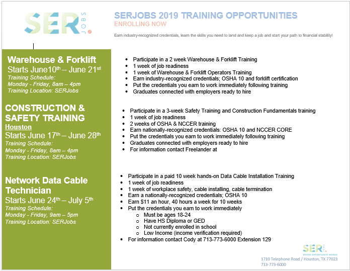 SERJOBS JUNE 2019 FREE CAREER TRAININGS!!!